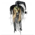 Helovīnu dekorācija Raganas galva ar matiem, cepure, zirneklis