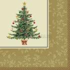 Салфетки бумажные с рисунком, 25 см,  Тема:  классическая викторианская елочка 16 шт.