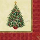 Салфетки бумажные с рисунком - Новогодняя елочка - 16 шт., 25см.