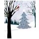 Пакет с рисунком элегантной  зимы, 24.2 см x 20.3 см x 11.4 см