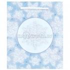 Подарочный пакет с блестящими снежинками, 24.1см x 20.3 см  x 11.4 см
