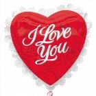 Flijas, sirds formas balons ar kruzuli, Mīlu Tevi, balti burti un kruzulis, izmērs 56cm