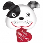 """Valentīna Dienas Sirsnīgs Sunītis - folijas balons, izmērs 29""""/74cm x 29""""/74cm,, piepūšams ar hēliju"""