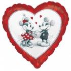 Mickey un Minnija Love - sirds formas folijas balons, piepūšams ar hēliju, izmērs 45 cm.