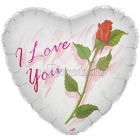"Folija balons, 18""/45cm, , I Love You,  Rose"