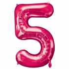 """26""""/66см x 34""""/86см Цифра 5 Шар из фольги Супер фигура Цвет: розовый"""