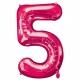"""26""""/66cm x 34""""/86cm Skaitlis 5 Folija balons Super figure Rozā"""