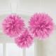 ПОМПОНЫ бумажные - подвесная декорация,Пушистая бумажная декорация, цвет: розовый, 40,6см, в упаковке 3 шт.