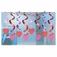 Подвесная  декорация - Спирали сердечки фольгас. Комплект 15 шт 60см