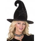 Черная шляпа ведьмы, с серебристым узором паутины