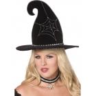 Raganas cepure melna ar sudrabotu zirnekla tikla rakstu.