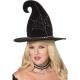 Raganas cepure melna ar sudrabota zirnekļa tīkla rakstu.