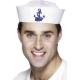 Jūrnieka stila cepurīte, balta ar zilu enkuru