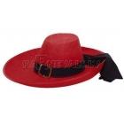Musketieru cepure,  sarkana, karnevālam