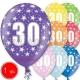 30 cm lateksa balons ar hēliju un hi-float, 1  dzimšanas diena, assortimenta 8 dažadas krasas, 1 gab.