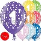 """12""""/30 см шар из латекса, 1 день рождения,  в ассортименте  8 цветов, 15 шт."""