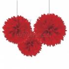 ПОМПОНЫ бумажные - подвесная декорация, .Пушистая бумажная декорация, цвет: красный, 40,6см, в упаковке 3 шт.