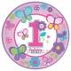 Тарелки 23см - 1-й День Рождения для девочек, 8 штук в упаковке