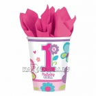 Стаканы 220 мл -  1-й День Рождения для девочек, 8 штук в упаковке