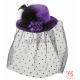 Фиолетовая мини шляпка с вуалью, розами и перьями
