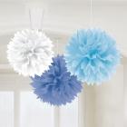 ПОМПОНЫ бумажные - подвесная декорация, три цвета, 40,6см, в упаковке 3 шт.