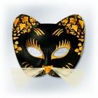 Карнавальная черная с золотом маска, КОТ