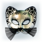 Карнавальная черная с серебром  маска кота