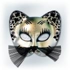 Karnevala melna ar sudrabu kaķa maska