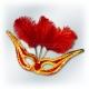 Карнавальная маска с перьями, розовая с золотом, GRAN GALA