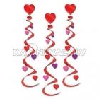 Valentīndienas dekorācija, sarkana sirds ar spirāle, 75 cm, 3. gab.