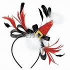 Ziemassvēku mini cepurīte uz stīpiņas, ar pūciņām un spalvam