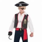 Pirāta aksesuāru komplekts,  komplektā veste, acs aizsegs, āķis, josta, spādze ar miroņgalvu.