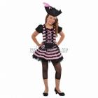Mīļākās (rozās) pirātes kostīms 134 cm meitenēm. Komplektā cepure ar spalvām, kleita, drēbes josta,  legingi