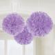 ПОМПОНЫ бумажные - подвесная декорация, цвет: лиловый, 40,6см, в упаковке 3 шт.