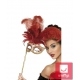 Карнавальная маска с перьями в стиле барокко, красная с золотом