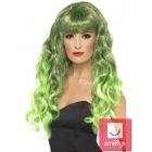 Парик Сирены, зеленый с чёрным, длинный, с кудрями и чёлкой, синтетика