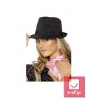 Gangsteres cepure, melna ar rozā svītrām