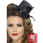 Mini cepurīte, melna, ar mirdzumiem, lenti, spalvu un gumiju