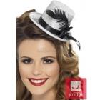 Mini cepurīte, sudraba, ar melnu lenti, spalvām un gumiju
