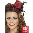 Мини шляпка , красная, черная лента, перья