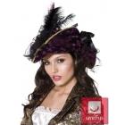 Pirates cepure, violeta ar melnu un zelta krasas malinam, ar spalvam un lenti