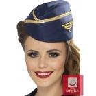 Пилотка стюардессы, синия, с золотой лентой