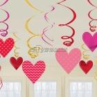Комплект декораций  на день Валентина, сердца  на спиралях