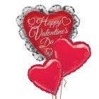 Букет-композиция  из 3-х воздушных шаров с гелием на день Валентина