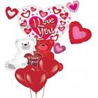 """Balonu kompozīcija Valentīndienai - """"Divi lācīši ar sirdi """" - 2 folijas baloni un 3 lateksa baloni ar hēļju"""