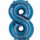 "26""/66см x 34""/86см Цифра 8 Шар из фольги Супер фигура Цвет: синий"