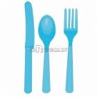 Столовые приборы ассортимент  8 наборов: в каждом ложка ножик вилка  24  предмета  синий  цвет