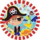 Тарелки с рисунком. Тема  - пиратские сокровища, 23см,  8 шт