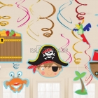 Бумажная декорация  фольга  Пираты 12 шт