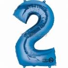"26""/66см x 34""/86см Цифра 2 Шар из фольги Супер фигура Цвет: синий"